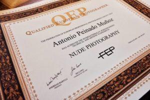 Certificado QEP otorgado a la colección por su Excelencia Fotográfica. (Fotografía cedida por FEPFI que puedes ver en su Facebook)